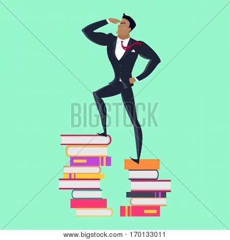 Getting on top of knowledge vector concept. Flat design. Man character in business suit standing on pile of books. Self-education and literature reading concept. On green background.