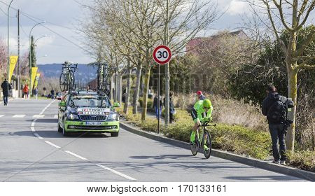 Conflans-Sainte-HonorineFrance-March 62016: The Danish cyclist Matti Breschel of Cannondale Team riding during the prologue stage of Paris-Nice 2016.