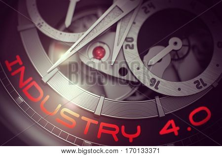 Old Pocket Watch with Industry 4.0 on the Face, Symbol of Time. Industry 4.0 on Face of Men Wristwatch, Chronograph Close-Up. Business and Work Concept with Lens Flare. 3D Rendering.