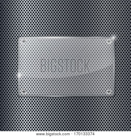 Transparent acrylic plate on metal perforated background. Vector illustration