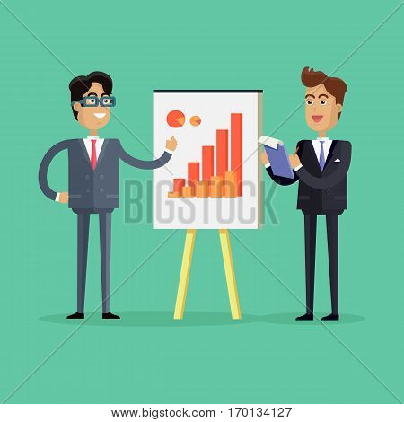 Two businessmen in business suit and tie making a presentation in front of whiteboard with infographics. Smiling young men personages in flat design isolated on green background.