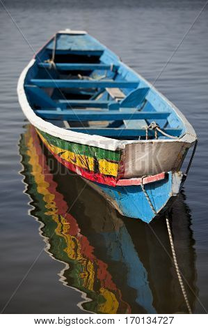 Traditional old hand painted Senegalese wooden rowing boat