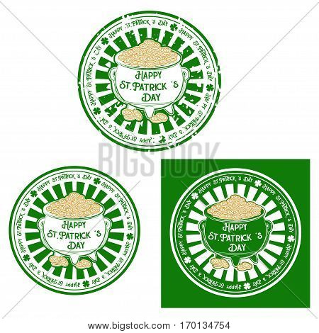 Vector badges set for St. Patrick's Day holiday. Barrel with coins in the traditional green and yellowish-brown tones