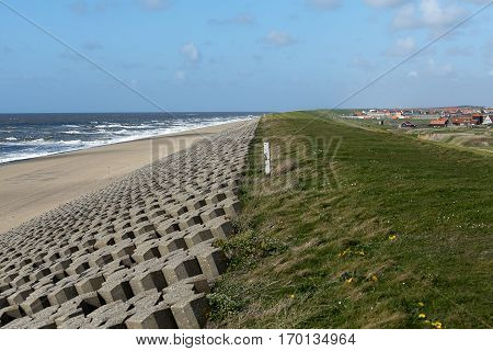Dam protecting the coast and lowlands of North Holland, the Netherlands