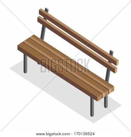 Wooden park bench with shadow. Wooden bench icon. One isolated outdoor bench. City isometric object in flat. Isolated vector illustration on white background.