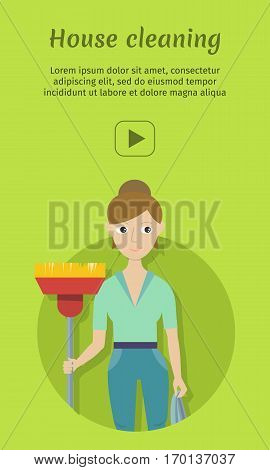 House cleaning banner. Young woman in green uniform with mop. House cleaning service, professional office cleaning, home cleaning, domestic cleaning service. Vertical website template.