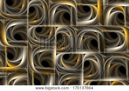 Abstract Tiled Background. Fantasy Fractal Design In Grey And Golden Colors. Digital Art. 3D Renderi