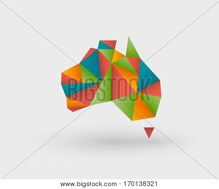 Colorful origami style map made of triangles outlining australia