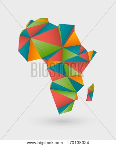 Colorful origami style map made of triangles outlining africa