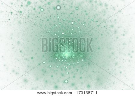 Fiery Splash. Abstract Light Green Sparks On White Background. Fantasy Fractal Texture For Posters,