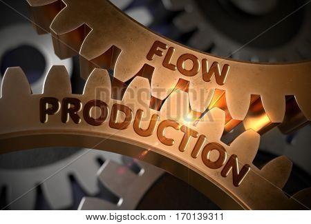 Flow Production Golden Cogwheels. Flow Production on the Mechanism of Golden Cogwheels. 3D Rendering.