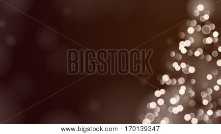 Christmas Tree Unfocused Blurred Lights on the Dark Wide Brown Background with an Empty Space for a Text Message