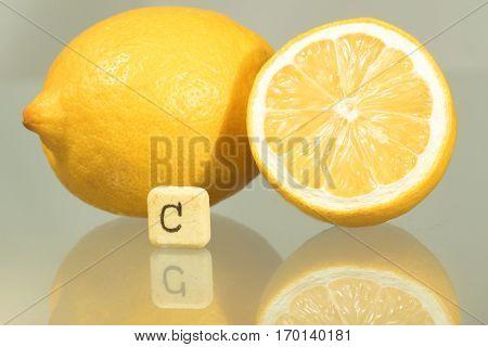 Two lemons and vitamin c pill flu prevention