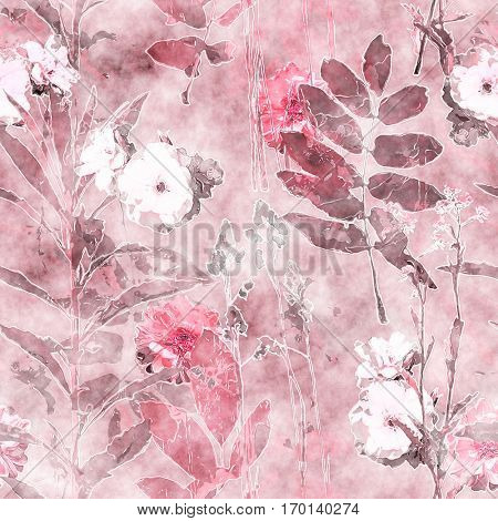 art vintage watercolor floral seamless pattern with monochrome pink and brown roses, peonies, asters, leaves and grasses on background