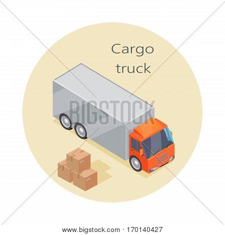 Cargo truck icon and paper boxes. Delivery vehicle isolated. Truck specialized to deliver goods. Semi-trailer, box trailers. Armored cars, dump truck. Used deliver cargo. Advanced delivery van. Vector