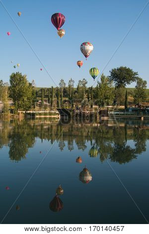 GUALDO CATTANEO, ITALY - JULY 29, 2016: Sagrantino International Challenge Cup. Hot air balloons competition
