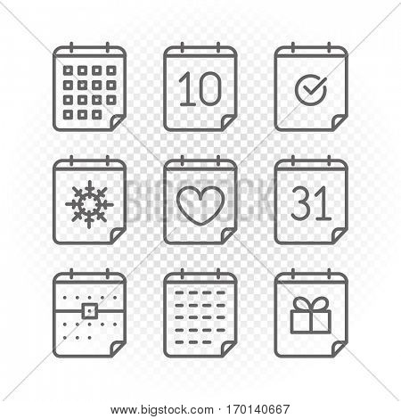 Binder silhouettes collection with different icons isolated on transparent background. Lineart vector calendar set. Vector diary set