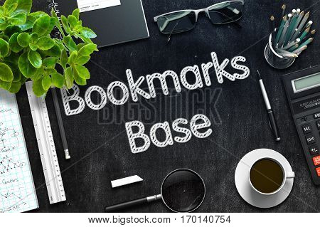 Bookmarks Base - Black Chalkboard with Hand Drawn Text and Stationery. Top View. 3d Rendering. Toned Illustration.