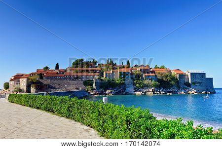 Sveti Stefan island  old  town castle,  Montenegro, Europe