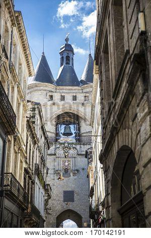 Old city gate la Grosse Cloche, Bordeaux, France