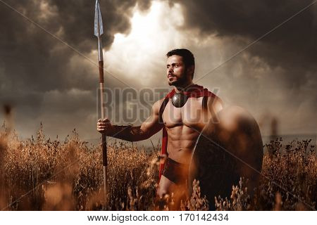 Confident warrior with beard in red cloak with sword and shield going in attack. Soldier with bare torso like spartan or antique roman looking away, standing at field. Dark dramatic sky.