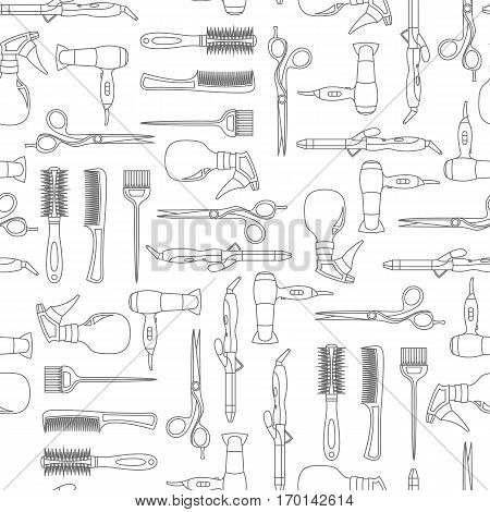 Vector seamless pattern of hairdressing line equipment set