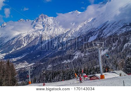 MARCH, 03,2014, Chamonix France: People In the slopes of SKI AREA of Chamonix Mont Blanc France.