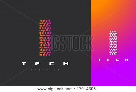 I Letter Logo Science Technology. Connected Dots Letter Design Vector with Points.