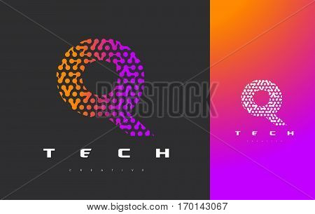 Q Letter Logo Science Technology. Connected Dots Letter Design Vector with Points.