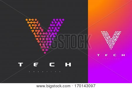 V Letter Logo Science Technology. Connected Dots Letter Design Vector with Points.