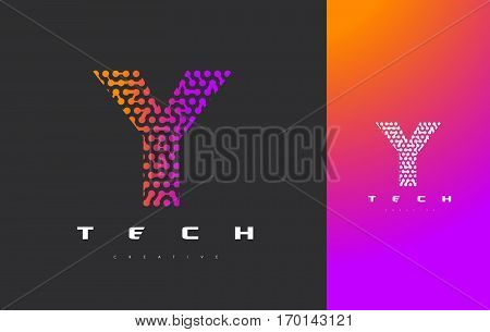 Y Letter Logo Science Technology. Connected Dots Letter Design Vector with Points.