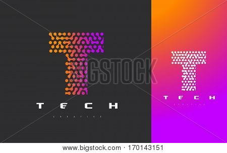 T Letter Logo Science Technology. Connected Dots Letter Design Vector with Points.