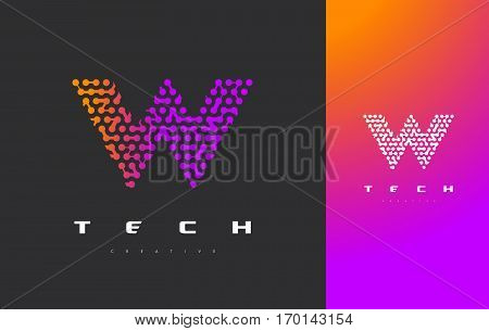 W Letter Logo Science Technology. Connected Dots Letter Design Vector with Points.