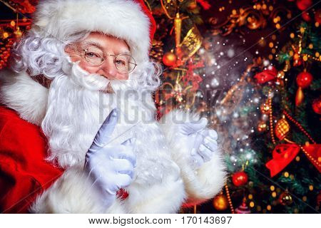 Christmas concept. Close-up portrait of a fairytale Santa Claus. Good old traditions. Family holidays. poster
