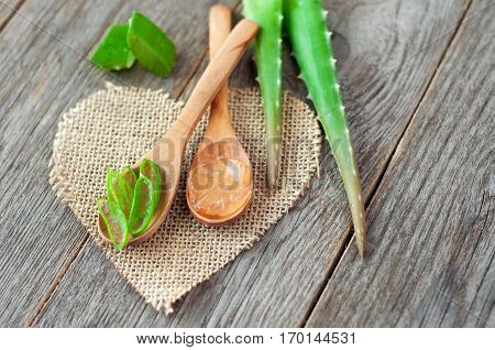 Pieces of aloe vera. Useful herb for skin care and hair care. Aloe vera gel on a wooden spoon with leaves of aloe on wooden desk.