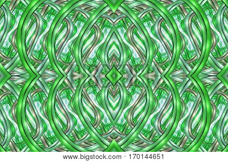 Abstract Intricate Symmetrical Ornament In Green And Grey Colors. Seamless Fractal Texture. Digital