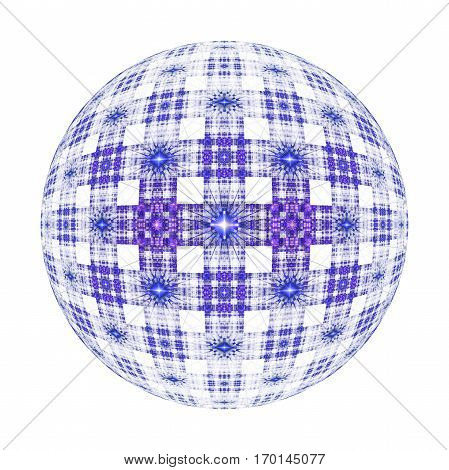 Abstract Ornamented Sphere On White Background. Fantasy Fractal Design In Deep Blue And Purple Color