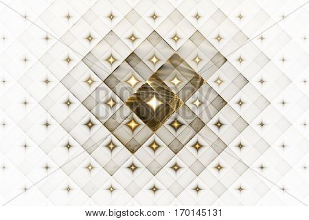 Abstract Geometric Ornament With Glowing Sparkles On White Background. Fantasy Fractal Design In Gol