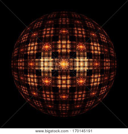 Abstract Ornamented Sphere On Black Background. Fantasy Fractal Design In Orange Colors. Psychedelic