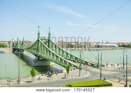 Budapest, Hungary - June 15, 2016: Liberty Or Freedom Bridge Connecting Buda And Pest Across Dunabe