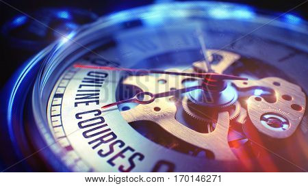 Vintage Watch Face with Online Courses Inscription, Close Up View of Watch Mechanism. Business Concept. Light Leaks Effect. 3D Render.