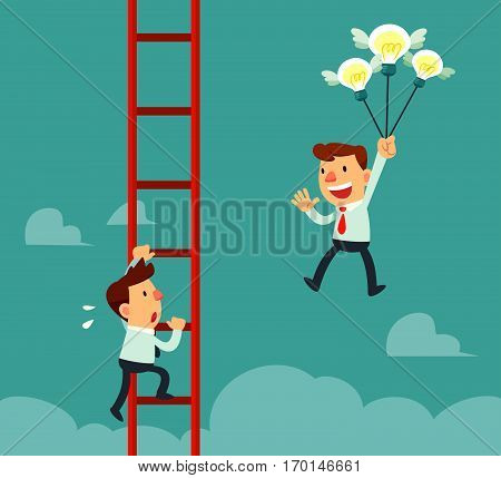 Happy businessman holding idea bulbs as balloons flying pass another businessman climbing a ladder. Business competition concept.