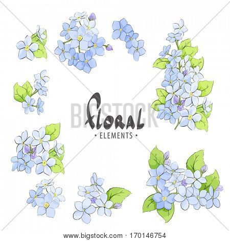 Bright blue forget-me on a white background with place for your inscription