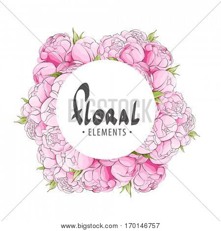 Round frame with peonies for your congratulations on a white background