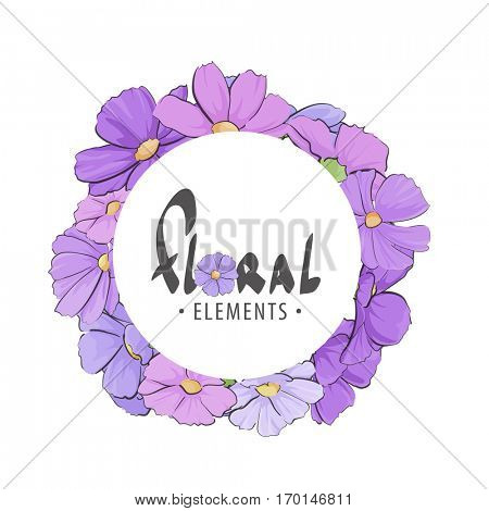 Delicate frame with purple wildflowers with the subject of congratulations for your
