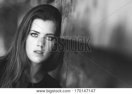 Beautiful moody black and white woman