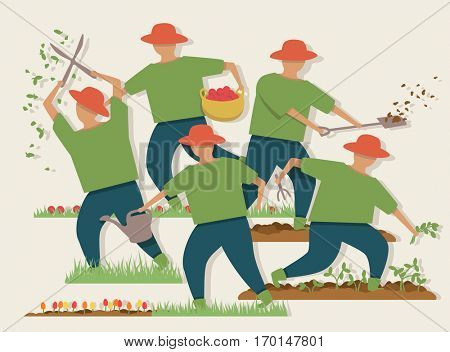 Vector illustration of a busy gardener doing various tasks
