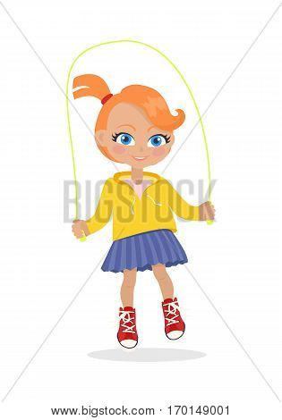Girl jumping on rope isolated on white. Adorable little girl has leisure time. School girl during break. Young lady at playground, going in for sport, playing, walking. Daily activity. Vector