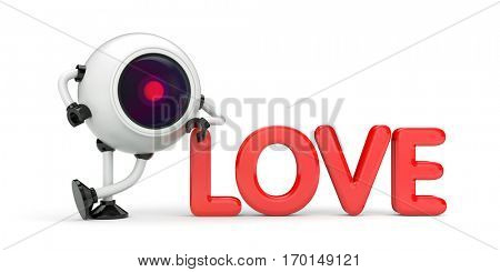 Love under the supervision. 3d illustration