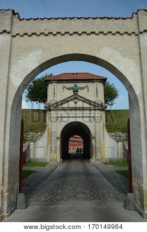 A view of the entrance to a fortress in Copenhagen